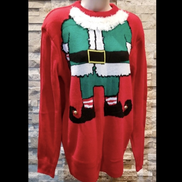H & M Divided Womens Christmas Sweater XS Red Elf
